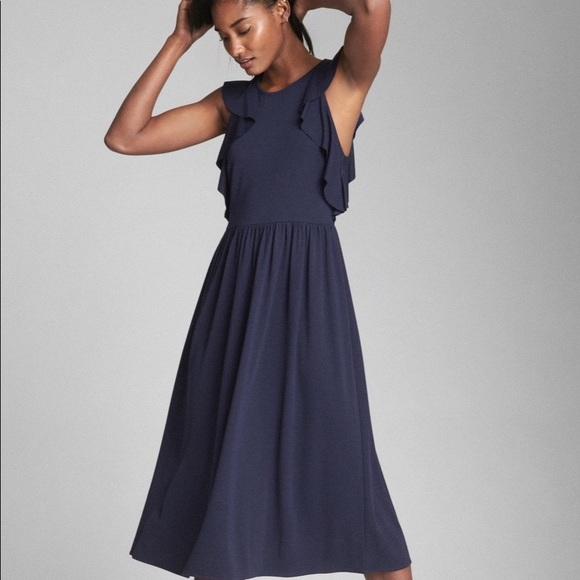 2d71565190 GAP Dresses   Skirts - GAP Fit   Flare Midi Ruffle Sleeve Dress ...